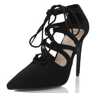 Shoes - Black Pointy Toe Lace Up Strappy Heel Stream